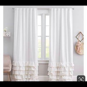 Pottery Barn Kids white ruffled curtains